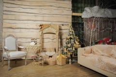 Houten Kerstmisbinnenland Stock Afbeelding