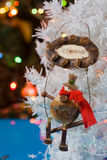 Houten Kerstmissneeuwman Stock Fotografie