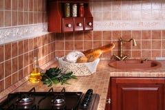 Houten keuken royalty-vrije stock foto's