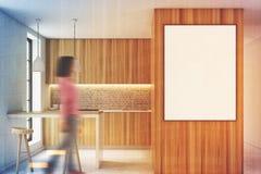 Houten keukenbinnenland met een bar, gestemde affiche Stock Afbeeldingen