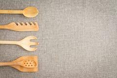 Houten keukengerei voor koks Stock Afbeelding