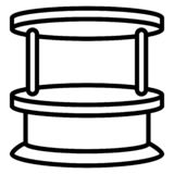 Houten kioskpictogram, overzichtsstijl vector illustratie