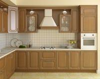 Houten klassieke keuken. Stock Afbeelding