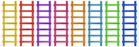 Houten kleurrijke stapladder - stock afbeeldingen