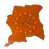 Houten klok in de vorm van het land Suriname Stock Fotografie
