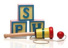 Houten kop-en-Balbal in kopstuk speelgoed Stock Afbeelding