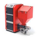 Houten korrelboiler met brandstof hooper en het voeden systeem Royalty-vrije Stock Foto