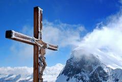 Houten kruis met Jesus Royalty-vrije Stock Afbeeldingen