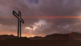 Houten kruis in nacht Royalty-vrije Stock Afbeeldingen