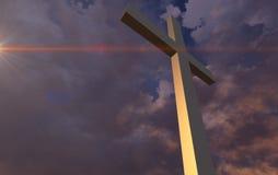 Houten kruis in nacht Royalty-vrije Stock Foto