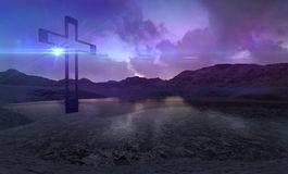 Houten kruis in nacht Stock Foto's