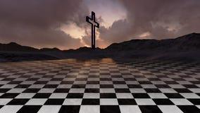 Houten kruis in nacht Stock Foto