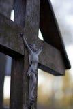 Houten kruisbeeld Stock Afbeeldingen