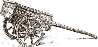 Houten kruiwagen stock illustratie