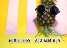 Houten kubussen met de geschreven zomer van woordenhello en rode lip pineapp Royalty-vrije Stock Fotografie