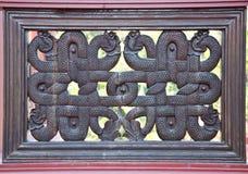 Houten kunst Thaise stijl Stock Afbeeldingen