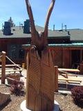 Houten kunstwerk in Meer Tahoe Californië stock afbeelding