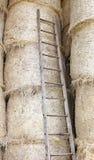 houten ladder in de schuur van het landbouwbedrijf royalty-vrije stock foto's
