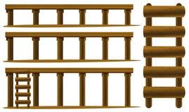 Houten ladder en vloeren vector illustratie