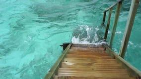 Houten ladder in het overzees van Indische Oceaan stock videobeelden