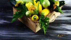 Houten lade van gekleurde courgette met bloesem en groene bladeren op een donkere achtergrond Verse product-groenten vegetables V Stock Foto