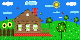 Houten landelijk huis vector illustratie