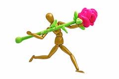 Houten ledenpop met bloem 02 Royalty-vrije Stock Foto