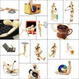 Houten ledenpopcollage Royalty-vrije Stock Foto's