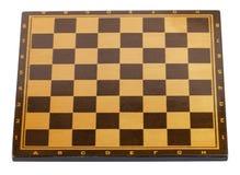 Houten leeg geïsoleerd schaakbord Stock Fotografie