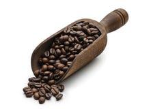 Houten Lepel en geroosterde Koffie Royalty-vrije Stock Afbeeldingen