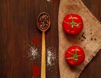 Houten lepel en ingrediënten op een donkere achtergrond Het concept kruidig voedsel of culinaire ketchup, hoogste mening, lege ru Stock Foto