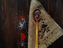 Houten lepel en ingrediënten op een donkere achtergrond Het concept kruidig voedsel of culinaire ketchup, hoogste mening, lege ru Royalty-vrije Stock Afbeeldingen