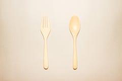 Houten lepel en vork Royalty-vrije Stock Foto