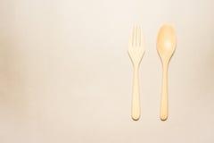 Houten lepel en vork Royalty-vrije Stock Afbeeldingen