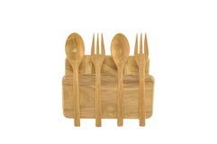 Houten lepel en vork op wit Royalty-vrije Stock Foto