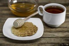 houten lepel voor honing, royalty-vrije stock foto's