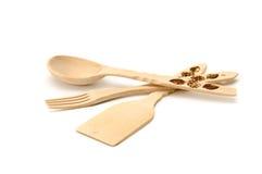 Houten lepel, vork, spatel. Stock Foto's