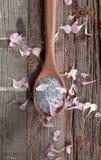 Houten lepelhoogtepunt van overzees zout op houten achtergrond stock afbeeldingen