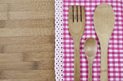 Houten lepels en een vork Royalty-vrije Stock Foto