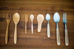 Houten lepels en houten vork Stock Fotografie