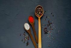 Houten lepels en ingrediënten op een donkere achtergrond Concept kruidig voedsel of het koken Royalty-vrije Stock Afbeelding