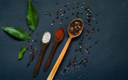 Houten lepels en ingrediënten op een donkere achtergrond Concept kruidig voedsel of het koken, hoogste mening, lege ruimte voor t Stock Fotografie