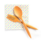 Houten lepels en vork op witte achtergrond Stock Foto