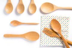 Houten lepels en vork op witte achtergrond Royalty-vrije Stock Afbeelding