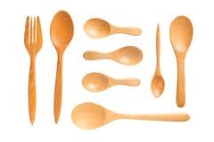 Houten lepels en vork op witte achtergrond, het Knippen Weg Stock Fotografie