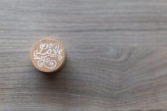Houten `-Liefde` Zegel stock foto's