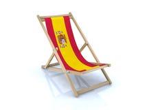 Houten ligstoel met Spaanse vlag Royalty-vrije Stock Foto