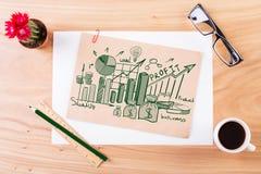 Houten lijst met bedrijfsschets Stock Foto's