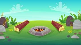 houten logboek 2 bij het kamperen brandbarbecue, de picknick vectorillustratie van de beeldverhaalaard stock illustratie