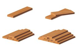 Houten logboeken Bruine schors van felled droog hout Aankoop voor bouw Vector illustratie Een reeks houten riemen voor vector illustratie